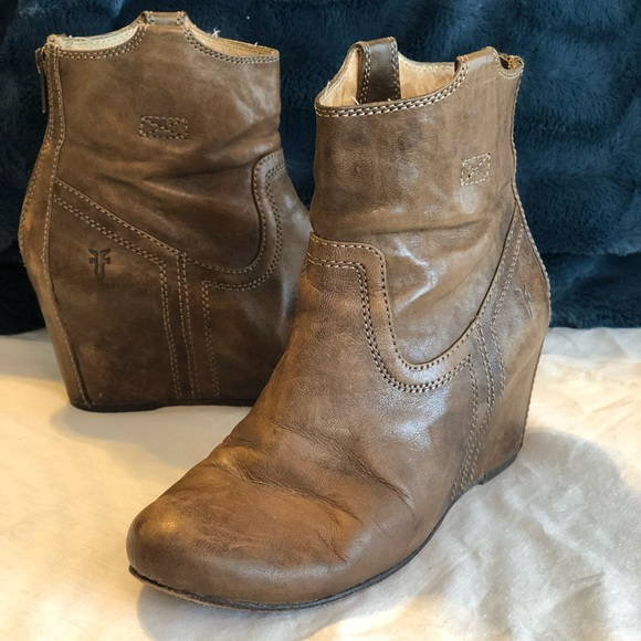 "ee3d4b72a6c Frye Shoes - Frye ""Carson"" Wedge Booties in Congac"